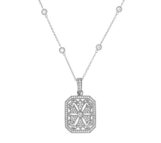 TOVA Diamonique Intricate Enhancer w/ Chain, Sterling