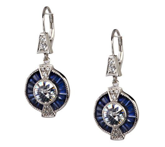 TOVA Diamonique Simulated Blue Sapphire Earrings, Sterling