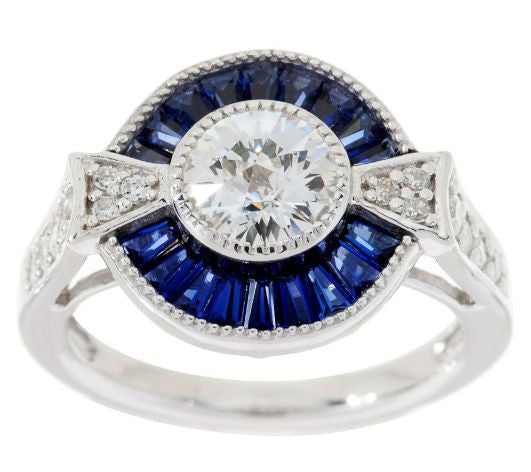 TOVA Diamonique Simulated Blue Sapphire Ring, Sterling