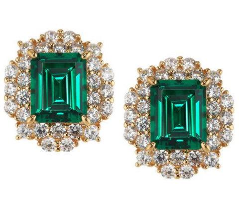 TOVA Diamonique Simulated Emerald Earrings, 14K Clad