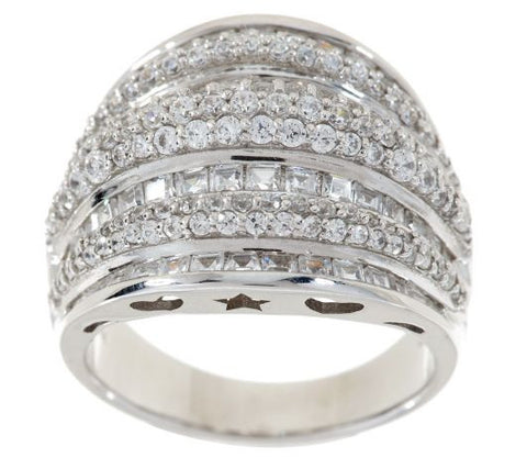 TOVA Diamonique Pave' Round & Baguette Ring, Sterling