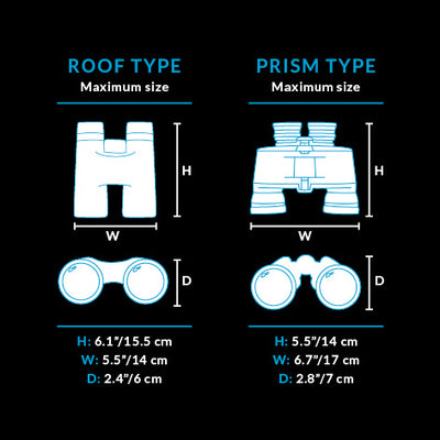 Maximum measurements table - it is recommended to check the size of your binoculars before purchase.
