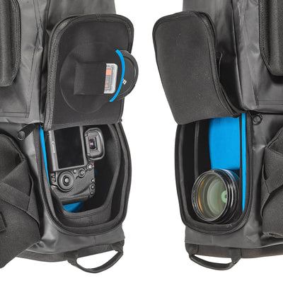 The lower gear compartment – built with additional inner layer of energy-absorbing Neoprene covered with supple Lycra - can be reached from both sides by opening the water-repellant zippers on the flaps . This allows the user to quickly reach in and pull out his camera