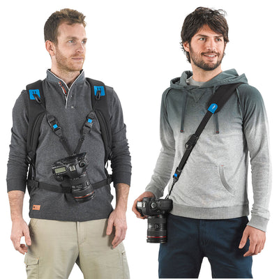 Secured camera attachment is possible by purchasing the Two Way Speed Strap (Sold desperately)