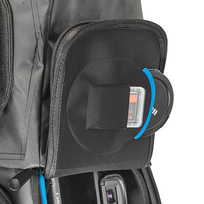 Inner pocket for lens cover and memory card