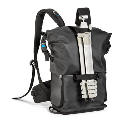 Carrying a tripod? It's easier than ever thanks to agua backpack's front tripod holder.