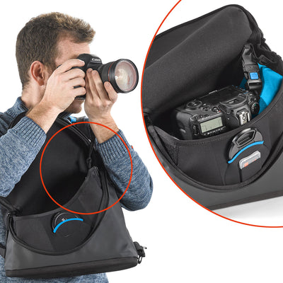 Secure connection between the bag and the camera using Fail-safe connecting buckles with locking system Eliminates the need for additional camera strap