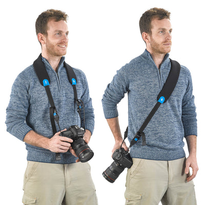 Quick-adjusting detachable padded strap – also can be attached to the camera.