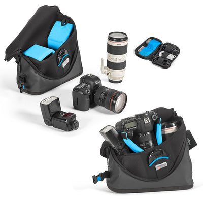 Fit-DSLR with attached lens (such as Canon 5D with 24-70mm f/2.8)+1 extra lens (such as 70-200mm) not mounted +Flash unit+Memory cards+Cables +Extra battery+Lens cover+Personal belonging such as smartphone or wallet.