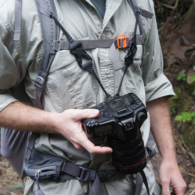 Tip: Use the 2 connectors to connect your camera to your backpack harnesscamera to your backpack harness