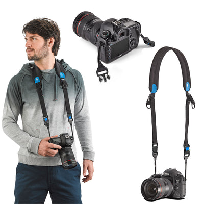 Quick-Adjusting detachable padded strap can be attached to the camera (with supplied connector)