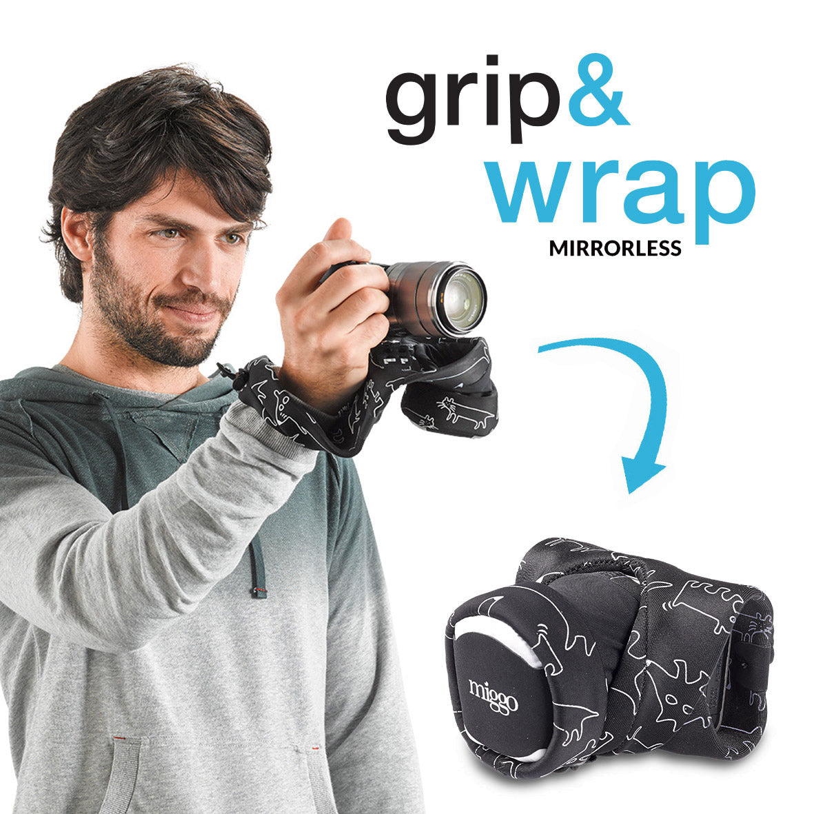 Serves as a camera grip (wrist strap) which morphs into a compact and padded camera carrier.