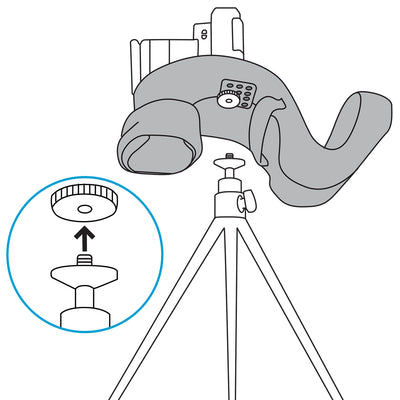 Multipurpose screw allows connection to a tripod while miggo is attached
