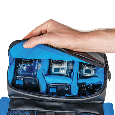 The Main Pouch  can hold up to 6 GoPro cameras including their accessories