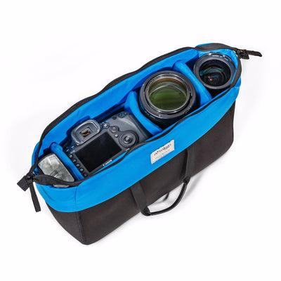 Photo gear insert bag with 4 detachable dividers with 24-70 zoom lens setup and place for other lenses