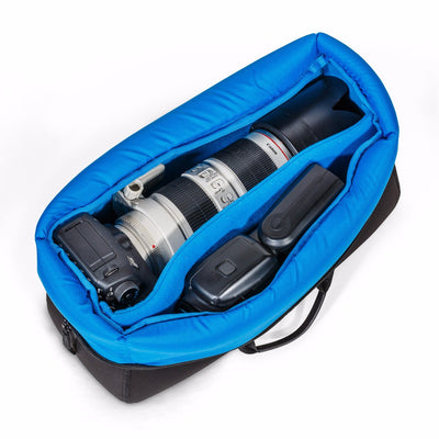 Photo gear insert bag with 4 detachable dividers with 70-200 long lens setup