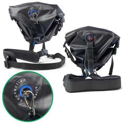 Agua rain cover  has a special opening underneath that allows connection of any sling strap with underside screw connection, for example the miggo two-way speed strap, Blackrapid or similar without the risk of water penetration