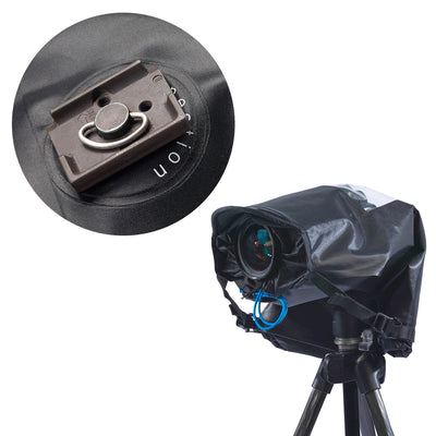 Shoot with a Underside hole enables you to connect tripod plate on the outside, so all use with tripod is done outside the rain cover.
