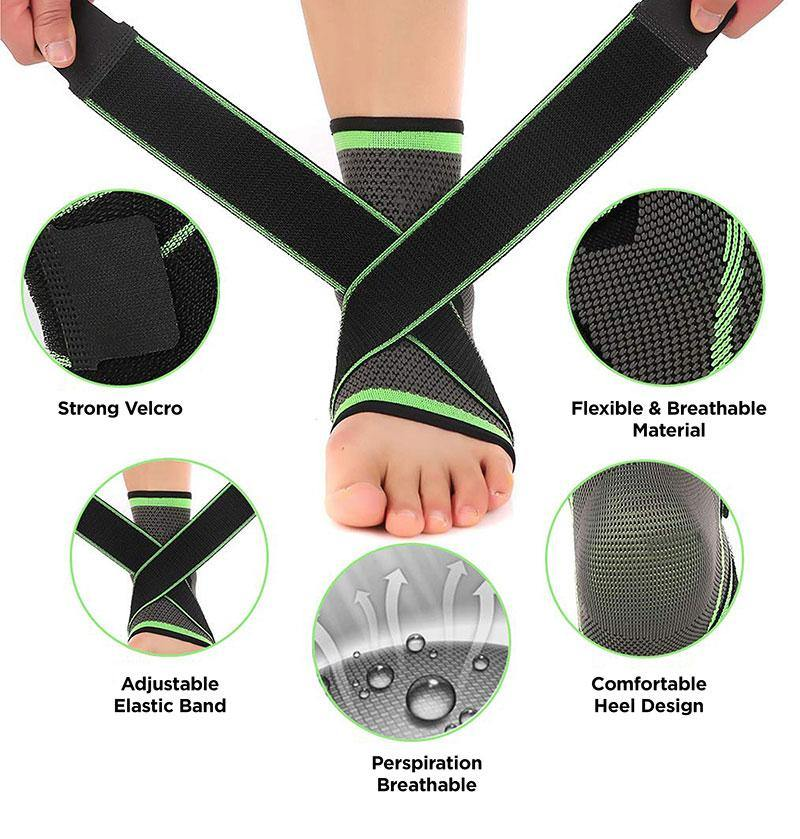 Compression Ankle Brace Sleeve with Arch Support - 1 Pair - BAAXZ