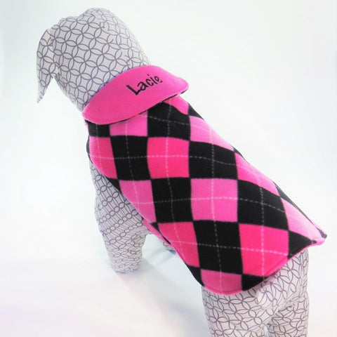 Pink and Black Argyle Dog Coat with Personalized Collar