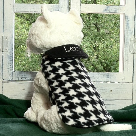 Classic Houndstooth Dog Coat with Embroidered Collar
