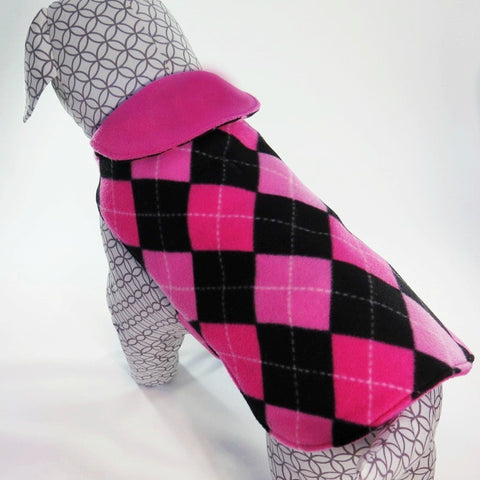 Pink and Black Argyle Print Dog Coat