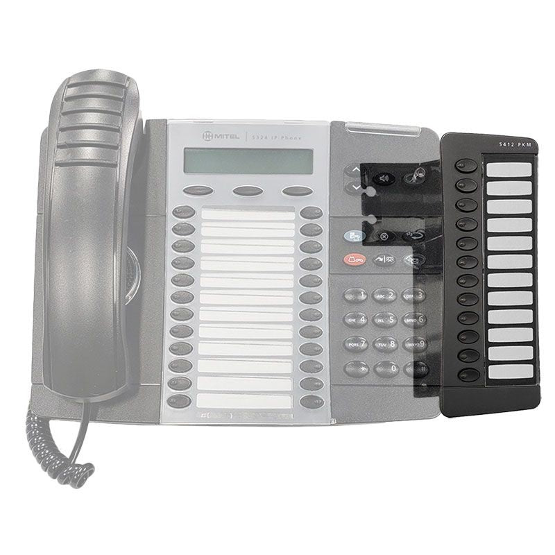 mitel-5412-ip-pkm-programmable-key-module-50002822-attached-to-phone