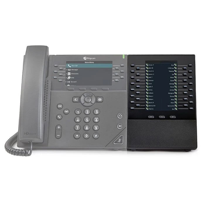 polycom-vvx-em50-expansion-module-2200-48890-025-connected-to-phone