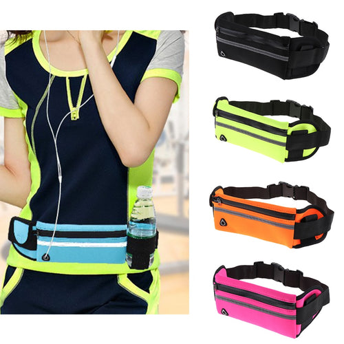 Waterproof Running Belt Bum Waist Pouch Fanny Pack Camping Sports Hiking Zip Bag Fitness Running Equipments Accessories