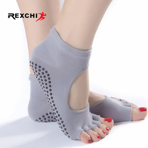 REXCHI 1 Pair Women Sports Yoga Socks Anti Slip for Lady Gym Fitness Pilates Sock Professional Sock Slippers Dance Protector