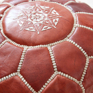 Moroccan Leather Stool Natural Colour - Khessa