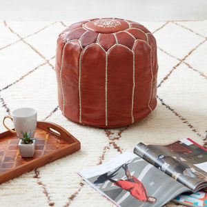 Moroccan Leather Stool Natural Colour - Khessa (3 days delivery)