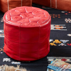 Moroccan Leather Stool Red - Zohra