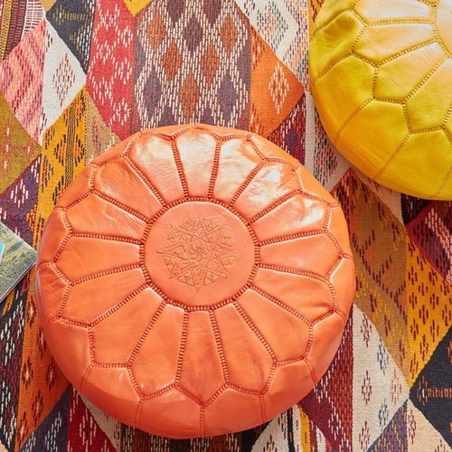 Moroccan Leather Pouf Orange- Khessa
