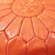 Load image into Gallery viewer, Moroccan Leather Pouf Orange- Khessa