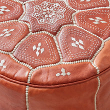 Load image into Gallery viewer, Moroccan Leather Stool Natural Colour - Zohra (3 days delivery)