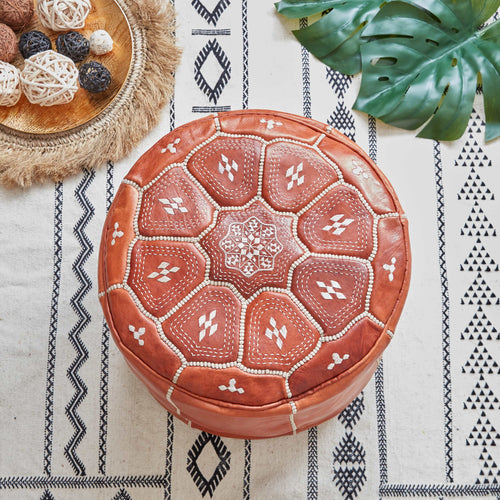 Moroccan Leather Stool Natural Colour - Zohra