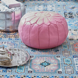 Moroccan Leather Pouf Pink- Khessa (3 days delivery)