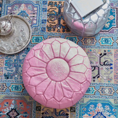 Moroccan Leather Pouf Pink- Khessa