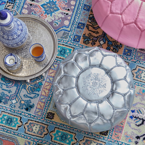 Moroccan Leather Stool Silver - Khessa