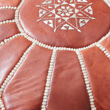 Load image into Gallery viewer, Moroccan Leather Pouf Natural Colour- Khessa
