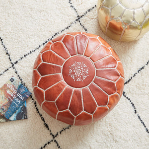 Moroccan Leather Pouf Natural Colour- Khessa
