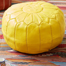 Load image into Gallery viewer, Moroccan Leather Pouf Yellow- Khessa
