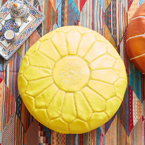 Moroccan Leather Pouf Yellow- Khessa