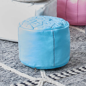 Moroccan Leather Stool SkyBlue - Zohra
