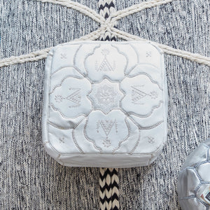 Moroccan Leather Square Pouf White- Berber