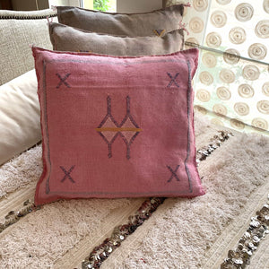 Cactus Silk Cushion Cover - Pink