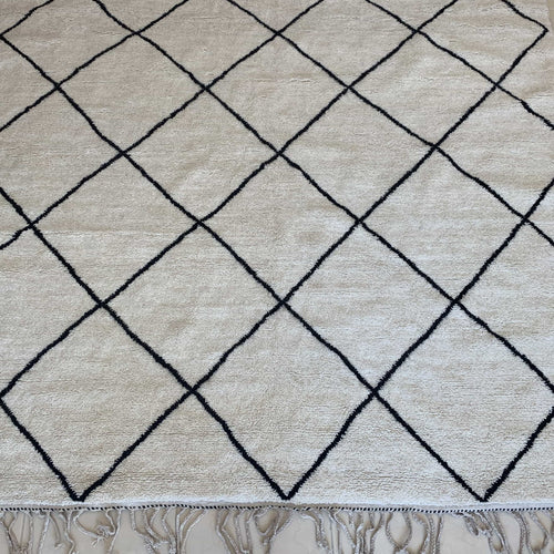 Beni Ourain Rug - Cream Black Diamond Shape