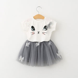 Cat Pattern Shirt and Skirt Duo