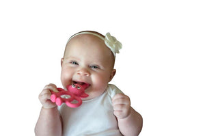 Infant Training Toothbrush/ Teething Toy/Gel Applicator (3-In-1) - Pink